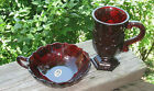 Ruby  Lot Royal Ruby Nut Dish And Ruby Coffee Cup Ornate FREE SHIP