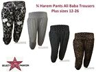 New Ladies 3/4 harem Skull Polka Dots Printed Ali Baba Trousers Shorts Plus Size