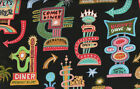 elizabeth's Studio~BARBARA'S DINER~1 YARD~Quilt Fabric~Signs On Black~