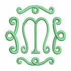 Curly Single Initial Monogram Fonts Alphabet Machine Embroidery Design CD 4x4