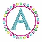 Circle of Dots Girl Monogram Fonts Alphabet Machine Embroidery Design CD 4x4