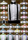 Mens clip on suspenders x back and Bow Tie Retro Steampunk Costume Tux Prom