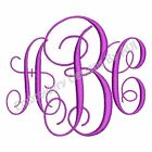 Intertwined Vine Monogram Fonts 3 Letter Alphabet Machine Embroidery Design CD
