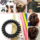 5 PCS Black Hair Ties Girls Rubber Telephone Wire Durable Elastic Extendable