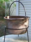 ANTIQUE COPPER BRASS KETTLE, CAULDRON, APPLE BUTTER KETTLE SIGNED WITH STAND