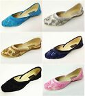 New Womens Satin Ballet Flats Sequins Beads Fashion Slip on Shoes Colors Sizes