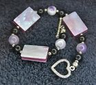 Sterling Silver Scrap/Not ~13 grams Marbled Pink Stone Heart Clasp Bracelet 7.5