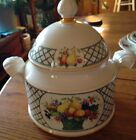 Villeroy Boch China Basket Pattern Soup Tureen with Lid Green Basketweave Fruit