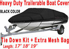 17 18 19 stratos Bass Trailerable Boat Cover Black Color All Weather TSBL