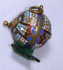Original rare ANTIQUE c1800's ~ CLOISONNE ROUND tape measure~wind up NOVELTY