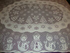 New Christmas White lace Snowman design Tablecloth 52 x 70