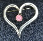 Sterling Silver ~13 grams Open Heart with Pink Stone Rose Quartz Pin or Brooch