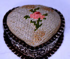 ANTIQUE ~~Gorham Sterling Silver Repousse Heart Pin Cushion~~novelty,FIGURAL