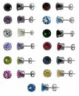 Any Color 925 Sterling Silver Birthstone Round CZ Stud Earrings Kids Lady Man