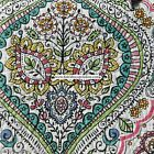 MOROCCAN Medallion FLORAL KING QUILT 3pc PINK YELLOW GREEN ORANGE NICOLE MILLE