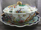 Mottahedeh Tobacco Leaf Oval Soup Tureen & Lid & Underplate Tray
