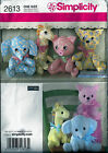 Simplicity Sewing Pattern 2613 Stuffed Animals Elephant Giraffe Pig Cat Nursery