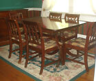 Vintage 1940s Federal Style Double Pedestal Extension Dining Table & Chairs