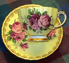 EB FOLEY RIBBED TEXTURE LARGE ROSE GOLD TEA CUP AND SAUCER YELLOW