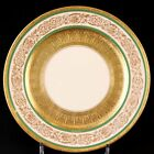 12 Cauldon England Dessert or Salad Plates, Gold Encrusted with Green