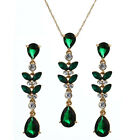 Red, Blue, Green Teardrop & Leaf Crystal Drop Pendant Necklace and Earrings Set