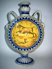 Antique 18th Century Spain French Country Folk Majolica Flask Vase Urn Bull