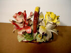 Quality Vintage Capodimonte Porcelain 2 Red & Yellow Rose Flowers In Basket