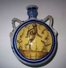 Antique 18th Century Spain Country Folk Majolica Flask w/ Man & Bull Images