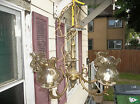 Vintage Solid Brass Very Ornate 5 Arm Chandelier Spain W/Glass Globes