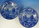 English Enoch Wood Fishermen and Castle Fruit/Dessert Bowls Pair rare