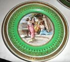 Antique royal vienna plate, beehive mark green background