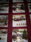 2 panels THROUGH THE WINTER WOODS Holly Taylor Moda Fabrics deep red lodge look