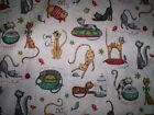 1 yd  x 44 cotton  PURRSNICKITTY Terri Degenkolb Whimsicals Red Rooster cats