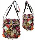 Genuine Leather Flower Patchwork Brown Multi Color Messenger Shoulder Bag Purse