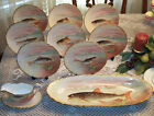 Antique Limoges Hand Painted Fish Set Plates tray Gravey Boat Signed J Morsey