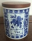 Vintage Blue Delft Tea Tee Thé Thee Porcelain Canister Wooden Lid