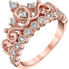 Sterling Silver Princess Crown Ring Rose Gold Plated
