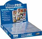 100 Ultra Pro 9 Pocket Trading Card Pages Silver Series