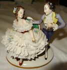 Vintage Antique Volkstedt Germany Porcelain Figurine Lady Gentleman Lovers