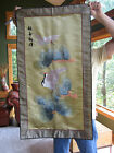Antique Embroidered Silk red crowned crane Japanese Tapestry banner Asian Art