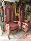 Pair Gothic Throne Chair Highly Carved  Lion Heads