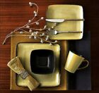 32 Piece Square Dinnerware Set Stoneware Kitchen China Dishes Dinner Plates Mugs
