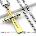 Men Stainless Steel Curve Shape Large Gold Tone Cross Pendant Figaro Necklace 1B