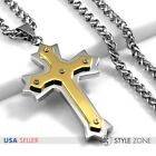 Men Stainless Steel Gold Tone Angle Cross Pendant w Braid Chain Necklace Punk 3B