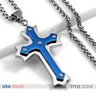 Men Stainless Steel Blue Tone Angle Cross Pendant w Braid Chain Necklace Punk 3B