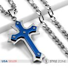 Men Stainless Steel Blue Tone Angle Cross Pendant Figaro Link Chain Necklace 3B