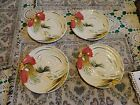 Made in Italy White Rooster Design Bread and Butter Plates Hand Painted