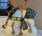 Mwah! Snow People Snowman & Snow Woman Kissing Salt and Pepper Shaker New in Box