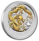 RARE ~ 2012 ~ GOLD GUILDED  SILVER OZ.~ YEAR of the DRAGON ~ PCGS  MS~70 ~ $9.99