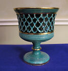 Vntg? Mid-Cent. Bitossi Mark B? Number Art Pottery Turquoise/Gold Compote Vase